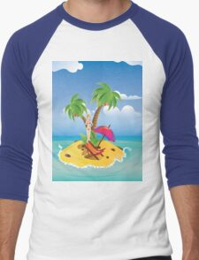 Red Bikini Girl on Island 2 Men's Baseball ¾ T-Shirt