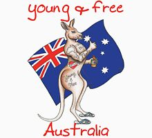 Family friendly Young & Free Australia Thumbs Up Tattooed Kangaroo Design Unisex T-Shirt