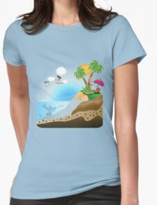 Happy Girl on Island Womens Fitted T-Shirt