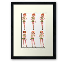 Red haired girl in green outfit Framed Print