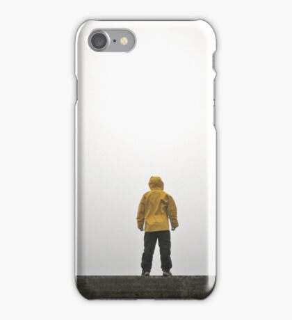 Person Wearing Rain Coat with Empty Space iPhone Case/Skin