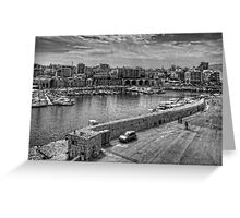 Heraklion Old Port B&W Greeting Card