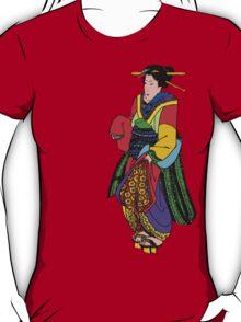 Bright Block Colors Geisha Asian Art T-Shirt