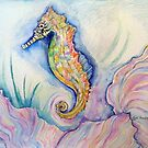 RAINBOW SEA HORSE AND CORAL by Gea Austen