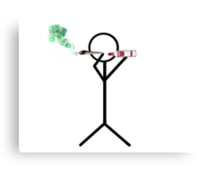 Stick Man: Smoking Weed Blunt and Drinking Vodka Canvas Print