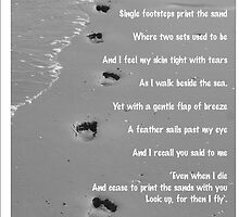 footprints in the sand words by Ruthie Thomas by Tracey-Anne Pryke