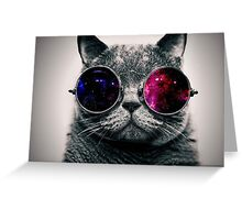 Space Cat With Glasses Greeting Card