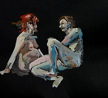 2008 Gouache Life Drawing Nude Pregnant Couple Study by Simon Collins