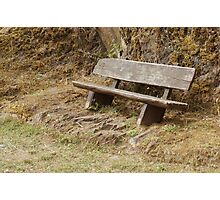 Old Bench at Castle Bourscheid Photographic Print
