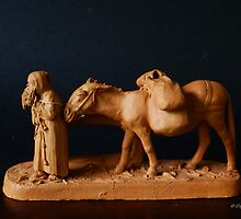 Monk with Mule by Gilberte