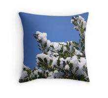 Snowy Holly Throw Pillow