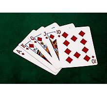 Poker Hands - Royal Flush Diamonds Suit Photographic Print