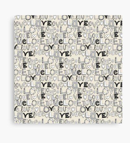 l o v e LOVE ivory white Canvas Print