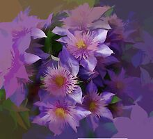 Abstract or Purple Clematis  belonging to lianne by hilarydougill