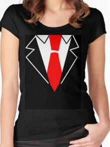Red Tie Suit Women's Fitted Scoop T-Shirt
