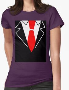 Red Tie Suit Womens Fitted T-Shirt
