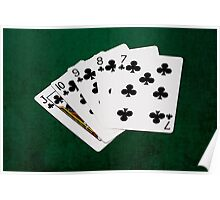 Poker Hands - Straight Flush Clubs Suit Poster