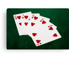 Poker Hands - Straight Flush Hearts Suit Canvas Print