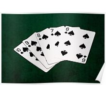 Poker Hands - Straight Flush Spades Suit Poster