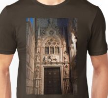 Italy. Venice. Palazzo Ducale. Gothic Exit Door at Night. Unisex T-Shirt