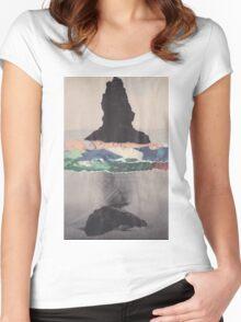 Colored Waves T-shirt femme moulant à col profond