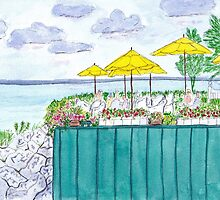 Lunch on the Water Watercolor by AngelaBishop