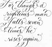 Though a man falls Proverbs verse calligraphy art by Melissa Goza