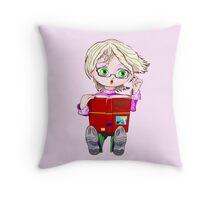 Little Girl Reading Throw Pillow