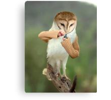 A Barn Owl smoking a Bowl Canvas Print