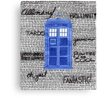 Tardis Doctor Quotes Canvas Print