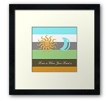 home is where is your heart is. graphic sun, moon and earth color stripes. Framed Print
