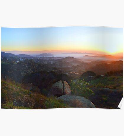 Sunrise Over San Fernando Valley Poster