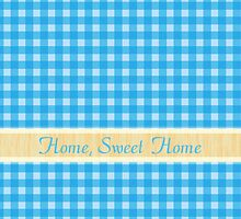 home, sweet home, lovely country style blue plaids graphic pattern. by prettypatterns