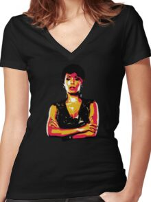 Fish Mooney Women's Fitted V-Neck T-Shirt