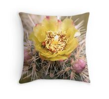 Ladybug & Cactus Flower Throw Pillow
