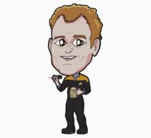 Star Trek DS9 - Chief Miles Edward O'Brien with Dart and Beer Chibi Sticker by Zphal