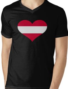 Austria flag heart Mens V-Neck T-Shirt