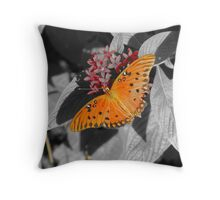 Butterfly in a Black & White World Throw Pillow