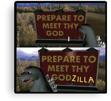 Past Expiry Cartoon : Minor Destruction by Godzilla Canvas Print
