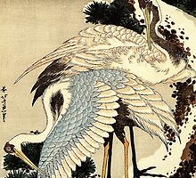 'Two Cranes on a Pine Covered with Snow' by Katsushika Hokusai (Reproduction) by Roz Abellera Art