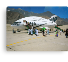 Pakistani Interstellar Airlines Arriving at The Moon Of Gilgit Prime in the Ashad Constellation Canvas Print