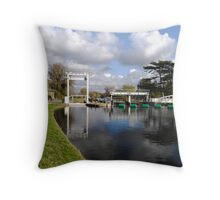 Bates lock on River Cam Throw Pillow