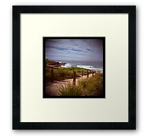 holga madness.....sea view with shark bait Framed Print
