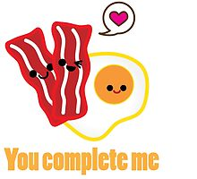 Kawaii Valentines Bacon&Eggs Card by FleurGraphics
