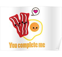 Kawaii Valentines Bacon&Eggs Card Poster