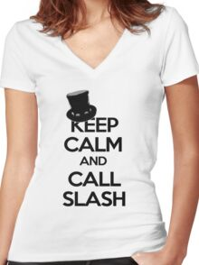 Keep Calm and Call Slash Women's Fitted V-Neck T-Shirt