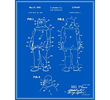 Fire Fighter Suit Patent - Blueprint Photographic Print