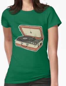 Vintage Record Player Womens Fitted T-Shirt