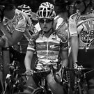 Race Face - Competitive Cyclist in Black and White by Judith Oppenheimer