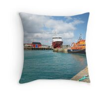 Lerwick Harbour and Lifeboat Throw Pillow